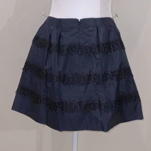 J Crew navy/black 100%silk skirt w/tulle l…